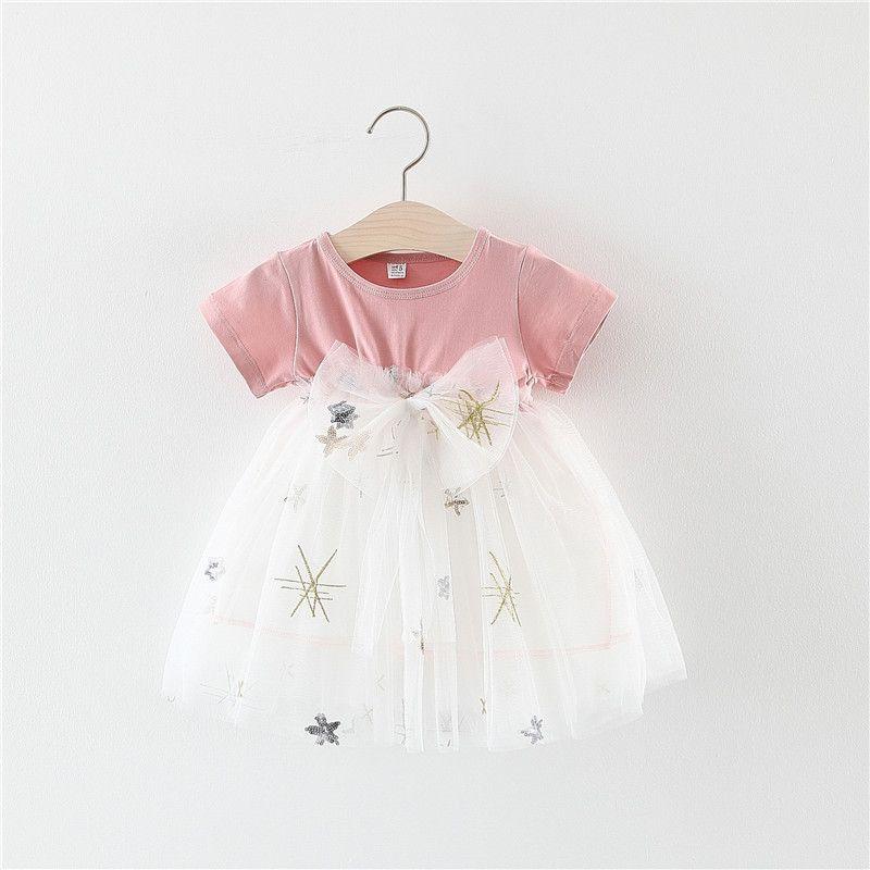 Baby Garden baby jurk wit roze