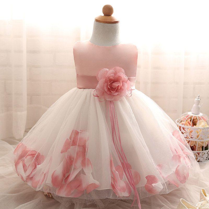Baby feestjurk pink flowers