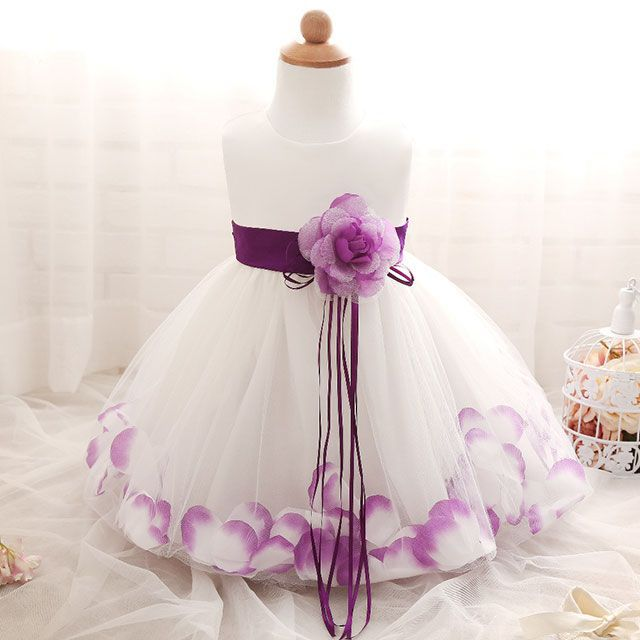 Baby feestjurk purple flowers