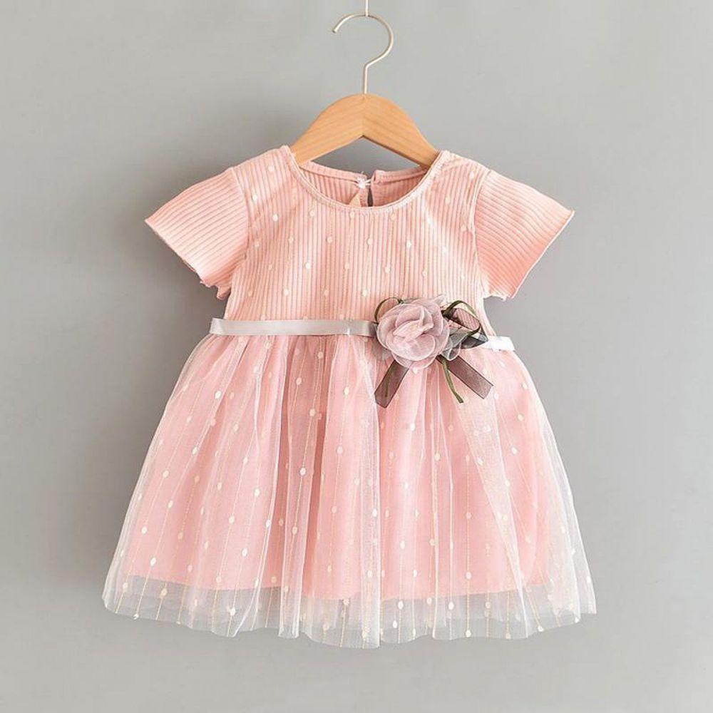 Baby Garden baby feestjurk roze korte mouw