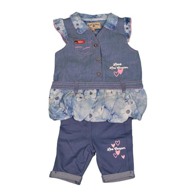 Baby denim jurk capri legging set
