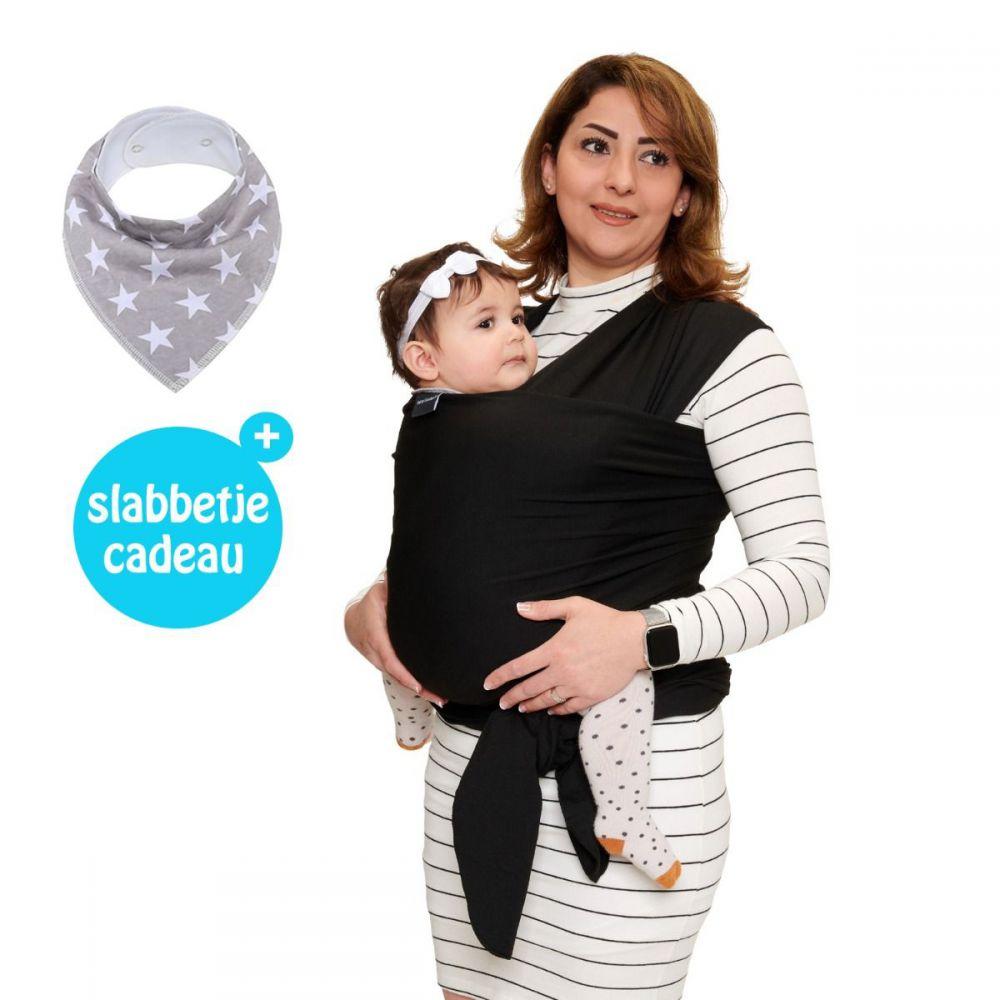 Baby Garden draagdoek zwart - Original - Gratis slabbetje